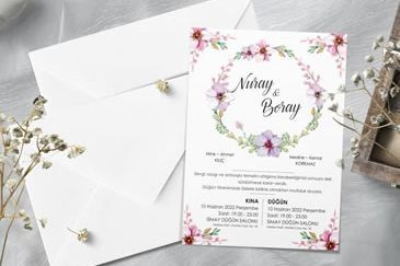 Çember çiçekli davetiye