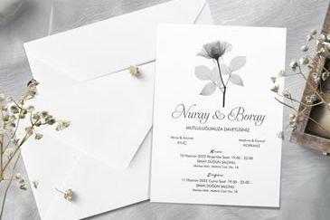 En güzel sade düğün davetiye
