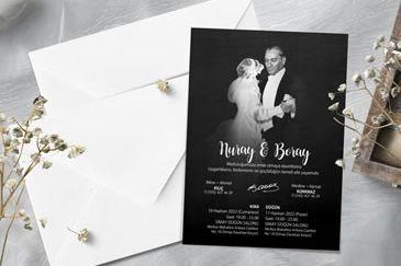 Atatürklü düğün davetiye