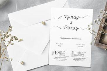 Sade düğün davetiye