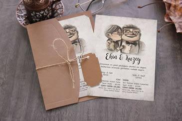 Karikatürlü çok satan düğün davetiye modeli