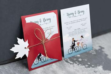 Bisikletli davetiye modelleri