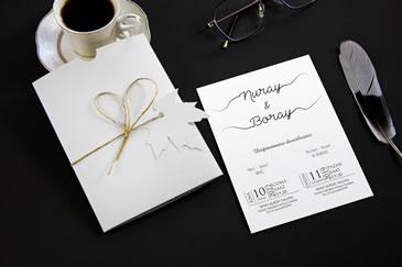 Yeni sade, şık düğün davetiye modeli