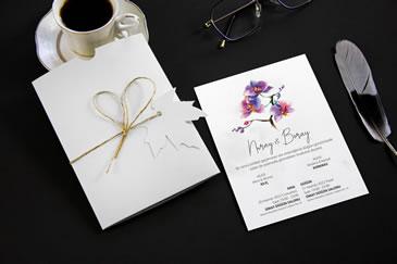 Sade düğün davetiyesi, desenli zarflı