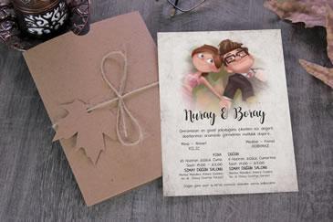 Karikatürlü ilginç düğün davetiye modeli