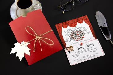 Karikatürlü değişik düğün davetiye modelleri