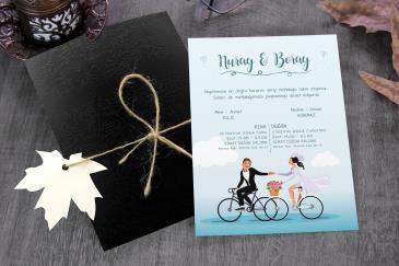 Bisikletli yeni düğün davetiye modelleri