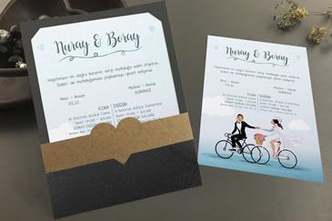 Bisikletli düğün davetiye modeli