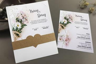 Sade papatyalı düğün davetiyeleri