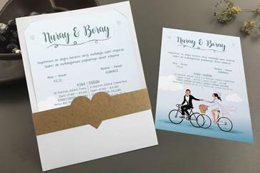 Bisikletli düğün davetiye modelleri