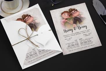 Karikatürlü düğün davetiyeleri