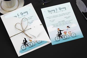 Bisikletli düğün davetiyesi