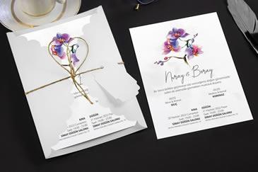 Sade çiçek davetiyeler