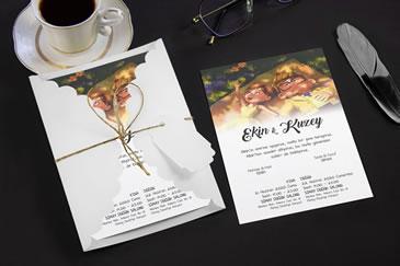 Karikatürlü değişik düğün davetiye