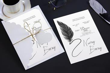 Sade yeni düğün davetiye modeli