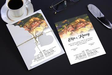 Yeni karikatürlü düğün davetiyesi modeli
