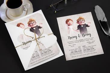 Çok satan karikatürlü düğün davetiye modelleri