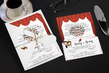 Karikatürlü değişik düğün davetiye modeli