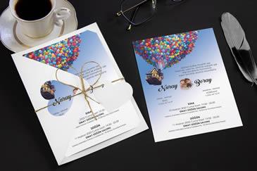 Uçan balon değişik davetiye modelleri