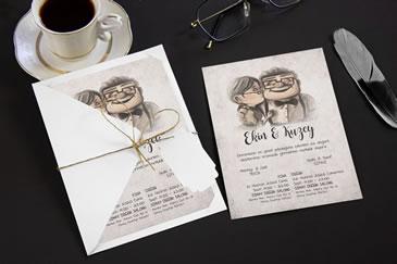 Yeni karikatürlü düğün davetiyesi
