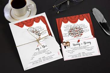 Karikatürlü esprili düğün davetiye modelleri