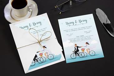 Bisikletli düğün davetiyesi yeni modeller