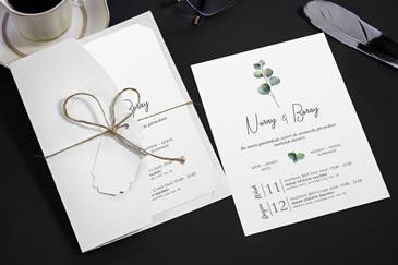 Okaliptuslu düğün davetiye örneği