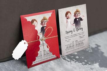 Karikatürlü düğün davetiye modeli