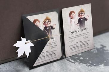 Karikatürlü düğün davetiye modeli, ilginç