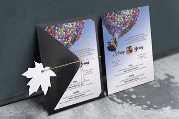 Karikatürlü balonlu düğün davetiye