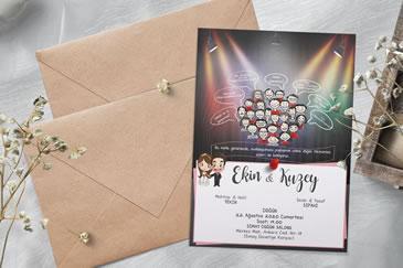 Esprili düğün davetiye