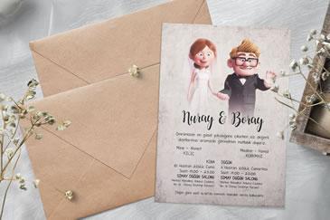 Çok satan karikatürlü düğün davetiye modeli