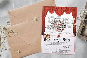 Karikatürlü düğün davetiye
