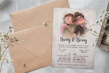 Çok satan karikatürlü düğün davetiye